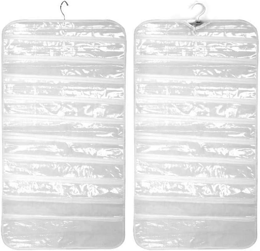 Samtlan 17 con 33H Transparente Transparente Wardrobe Organizador Almacenaje Puerta Percha Bolsa para Pendientes,Collares,Pulseras