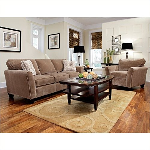 Broyhill Maddie 2 Piece Microfiber Mocha Sofa & Chair Set with Affinity Wood - Chairs Broyhill Sofas