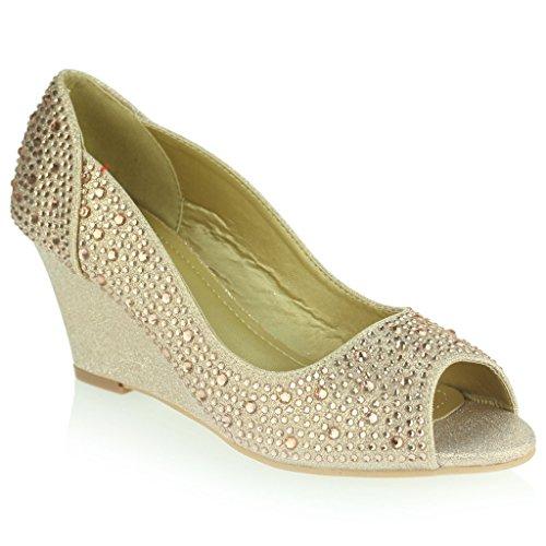 Mujer Señoras Peeptoe Diamante Embellecido Tacón de Cuña Noche Fiesta Boda Prom Nupcial Sandalias Zapatos Talla Champán