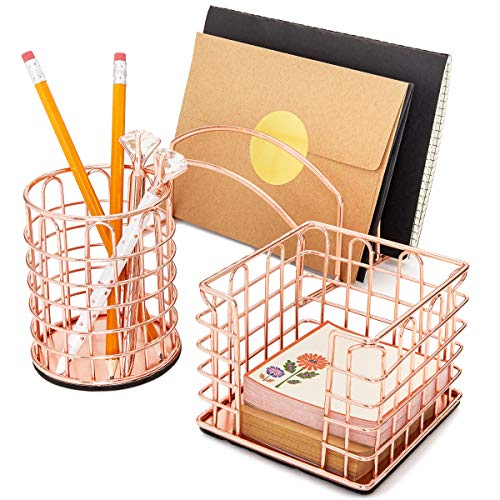 Paper Junkie Rose Gold Office Desk Organizer Accessories 3-Piece ()