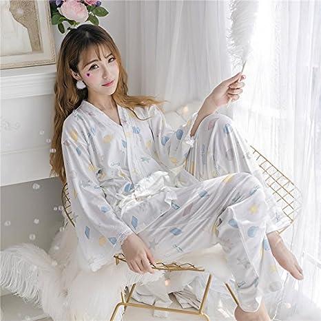 WXIN /Pijamas Mujeres/Niñas Desgaste Tejer Algodón/Trajes/M/Blanco: Amazon.es: Hogar