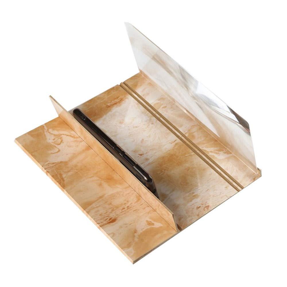Kanhan 3D Phone Screen Magnifier Stereoscopic Amplifying 12 Inch Desktop Wood Bracket 3D Movie Video Amplifier (Gold)