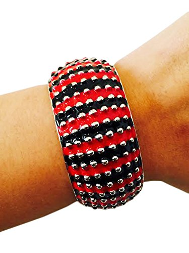 Activity Tracker Bracelet for Fitbit Flex and Most Other Fitness Trackers - The LISETTE Striped Studded Bangle Bracelet - Works with Most Fitness - Studded Bangle Enamel