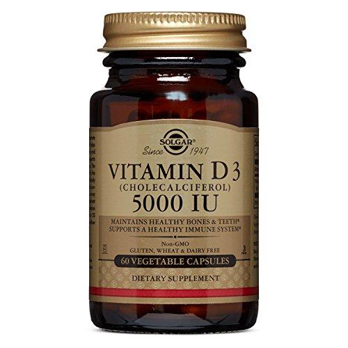 Solgar Vitamin D3 Cholecalciferol 5000 IU Vegetable Capsules, 60 Count