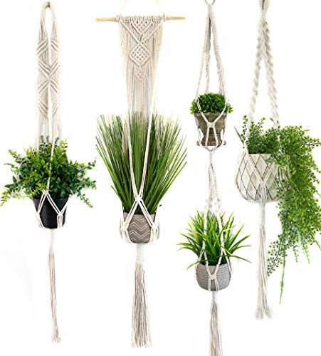 Macrame Plant Hangers Set of 4 - Modern Design - Handmade Organic Cotton Plant Holder Home Decor - Succulent Flower Pot - Good for Patio, Room, Balcony, Bedroom and Kitchen - Gift Box Included (Modern Patio Design)