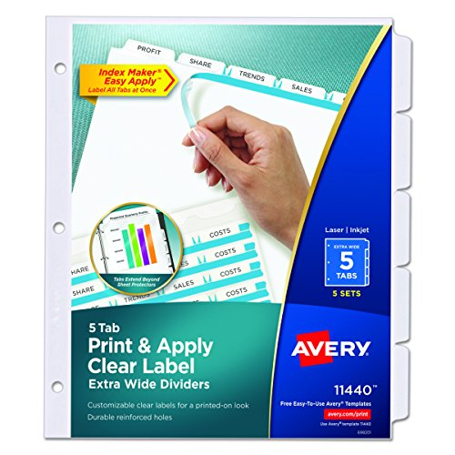 Avery Extra-Wide Dividers, Ink Jet Printer, White, 5-Tab, 9 x 11 Inches, 5 Sets (11440)