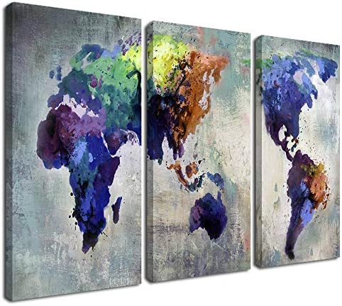 Ardemy Canvas World Map Wall Art Watercolor Map of the World Abstract Colorful Vintage Painting Pictures Large 3 Panels Artwork Framed Ready to Hang for Living Room Bedroom Home Office Decor