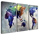 Ardemy Canvas World Map Wall Art Watercolor Map of The World Abstract Colorful