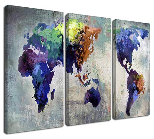 Ardemy Canvas World Map Wall Art Watercolor Map of The World Abstract Colorful Vintage Painting Pictures, Large 3 Panels Artwork Framed Ready to Hang for Living Room Bedroom Home Office Decor