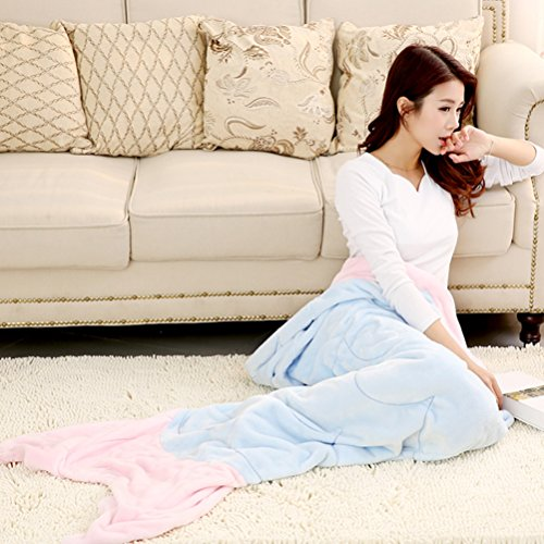 Morning-sunshine Super Soft Plush Fleece Mermaid Tail Blanket for Adults, Comfortable Sleeping Bags Christmas Gift for women with 2 Color Choices (Blue)
