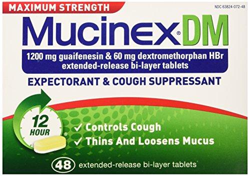 Mucinex DM Maximum Strength 12 Hour Expectorant and Cough Suppressant Bi-Layer Tablets, 48 (Bronchitis Cough Suppressant)