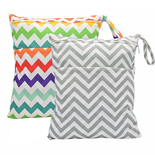 2-pcs-baby-wet-dry-bag-splice-cloth-diaper-waterproof-bags-with-zipper-snap-handle-chevron-rainbow-a