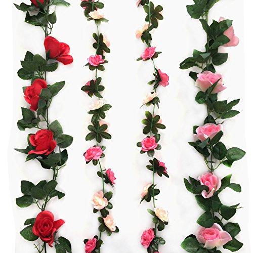 Cocodeko 4 Pack Artificial Fake Rose Silk Flower with Green Leaf Vine Plastic Hanging Vine Garland Artificial Flora Wreath for Home Yard Fence Wedding Garden Decoration