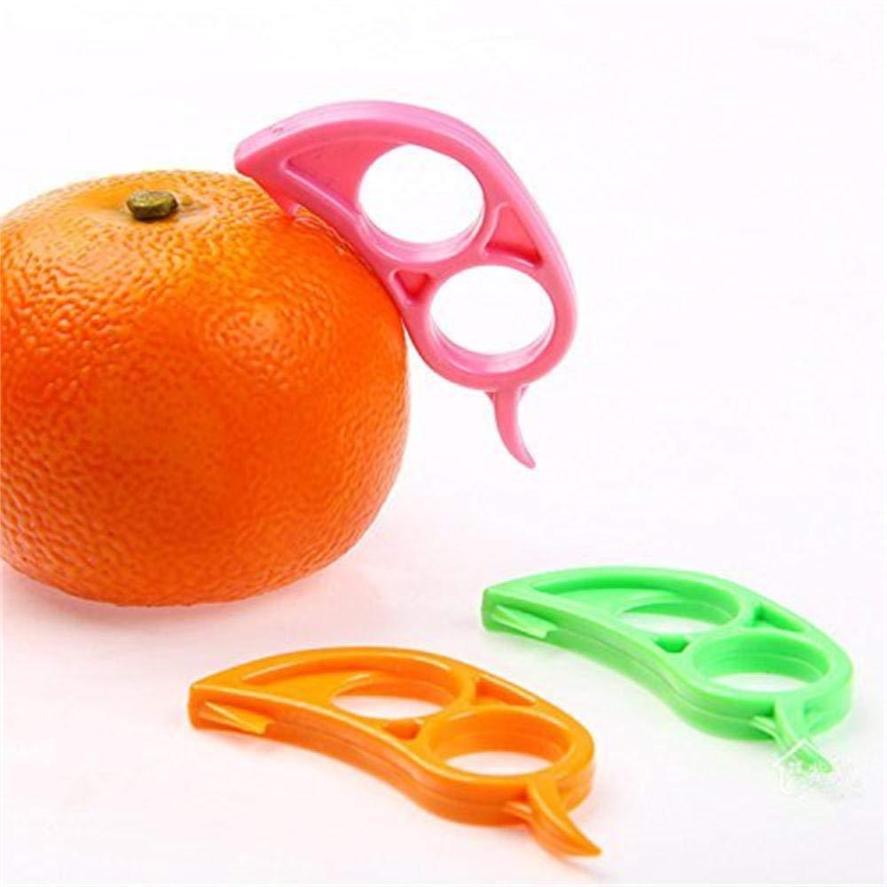 FUNSECO Orange Opener Peeler Slicer Cutter Plastic Lemon Citrus Fruit Skin Remover Kitchen Accessories - 4 Pcs Random Color