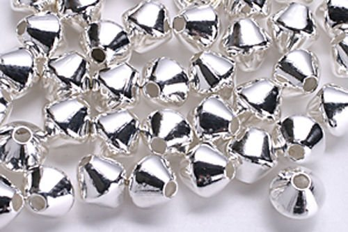 Jewelry Making Beads 25 Silver Plated Double Cone BICONE Beads 4MM