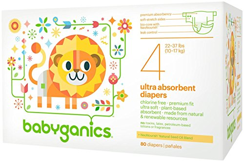 Babyganics Ultra Absorbent Diapers, Size 4, 80 Count