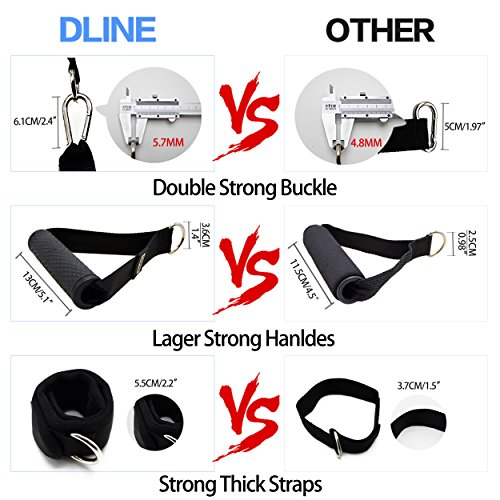 DLINE Resistance Bands with Handles,5 Exercise Bands,Door Anchor,Carrying Mesh Bag and 2 Ankle Straps-for P90X Resistance Training,Physical Therapy,Home Workouts by DLINE (Image #2)