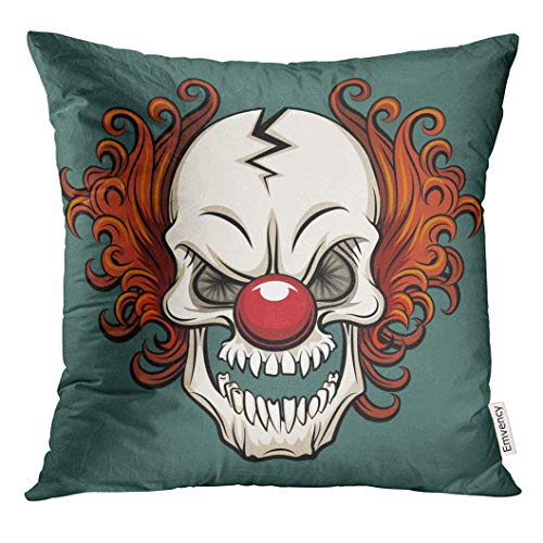 Deeoor Throw Pillow Cover Colorful Creepy Evil Scary Clown Halloween Monster Joker Character Mask Face Decorative Pillow Case Home Decor Square 18x18 Inches Pillowcase ()