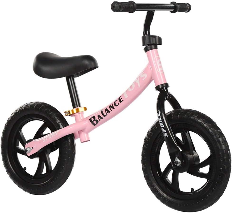 バランスバイク 子供および幼児のスポーツのバランスのバイク炭素鋼フレームが付いているペダルの歩く自転車無し調節可能なハンドルバーおよび座席12インチのアルミニウムバランスバイク 幼児用バランスバイク (色 : Pink, Size : 12 inches)