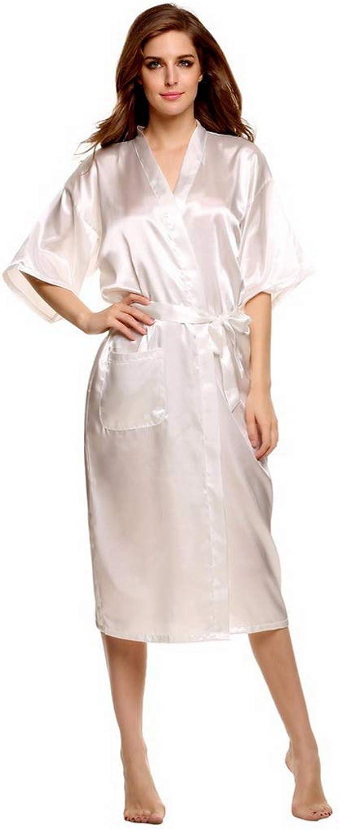 Amazon.com: Albornoz Kimono, rojo largo de la novia damas de ...