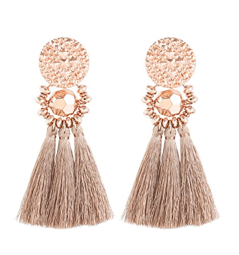 Boderier Bohemian Statement Thread Tassel Chandelier Drop Dangle Earrings with Cassandra Button Stud (Rose Gold)