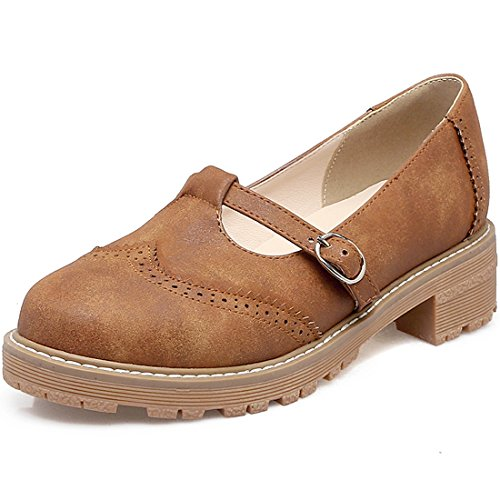 YE Women's Ladies Buckle T-Bar Brogue Pumps Classic Dolly Smart Work Shoes UK Size 2-8 Brown TXIEsq