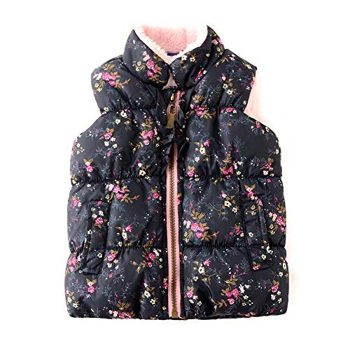 (SNOW DREAMS Baby Girls Puffer Vest Floral Printed Fleece Lined Quilted Zipper Waistcoat Black Size 18M)