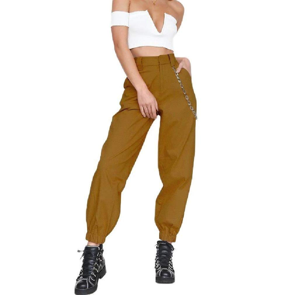 Vska Women with Chains Casual Workout Personality High Waist Harem Pants