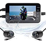 LANCERTECH Motorcycle Dash Cam, FHD 1080P Front & HD 720P Rear IP67 Waterproof 4.0' IPS LCD Screen 140° Wide Angle WDR Driving Camera with Loop Recording, G-Sensor, WiFi App