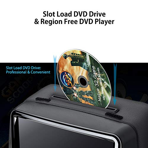 XTRONS 2x9 Inch Pair Touch Screen Car Auto Headrest DVD Player Game 1080P Video Built-in HDMI Port Headphones Included (Black) by XTRONS (Image #4)