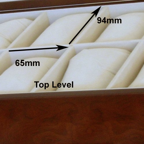 Watch Box for 20 Watches XL Extra Large Compartments Fits 65mm Soft Cushions Clearance (Cherry) by Tech Swiss (Image #4)