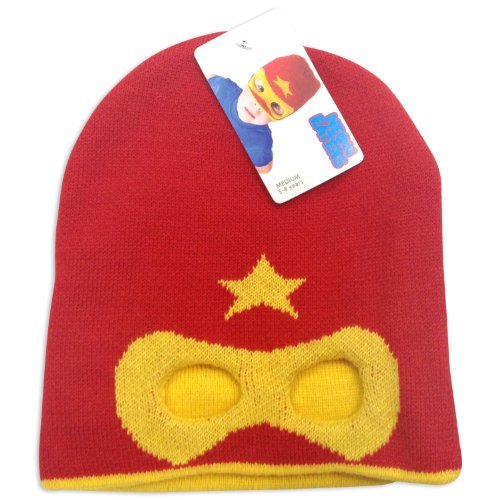 Neon Eaters Kids Superhero Mask Beanie Hat Red