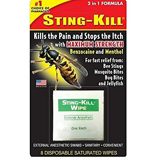 Sting-Kill External Anesthetic Disposable Wipes, 8 Count (Pack of 3)