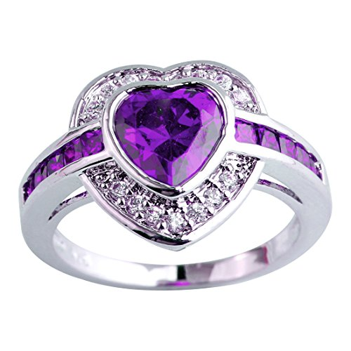 Emsione Women's 925 Sterling Silver Plated Heart Shape Created Amethyst and White Topaz Halo Ring Sizes 7-13 Amethyst Heart Shape Solitaire