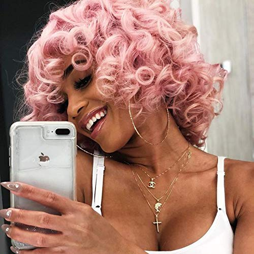 Short Afro Curly Synthetic Hair Wigs for Black Women Phoenixfly Pink Color Loose Curly Fluffy Shoulder Length Natural Looking Hair Wigs Heat Resistant Hair Replacement Wigs with Wig Caps ()
