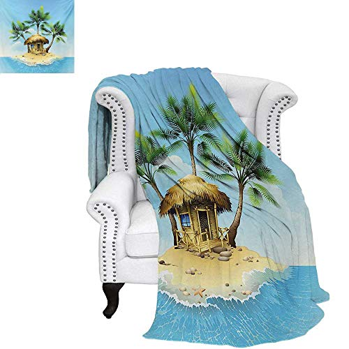 Digital Printing Blanket Tropical Wooden Bungalow Three Palm Trees in a Small Island Cartoon Artwork Lightweight Blanket 90