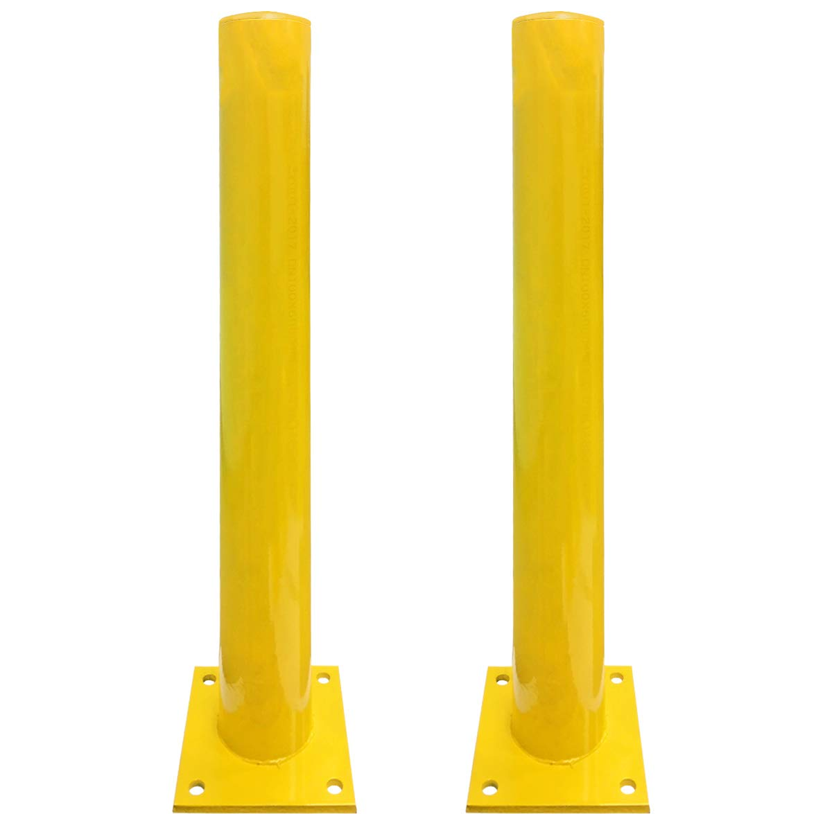 Electriduct 3 Feet Steel Pipe Safety Bollard Post Yellow - Parking Lot Traffic Barrier (36'' Height - 4.5'' OD) - Pack of 2