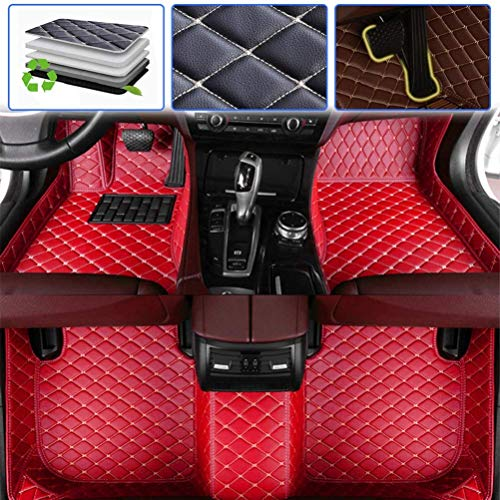 Custom Car Floor Mats for Chevy Chevrolet Silverado High Country 2014-2017 Luxury Leather Waterproof Anti-Skid Full Coverage Liner Front & Rear Mat/Set (red)
