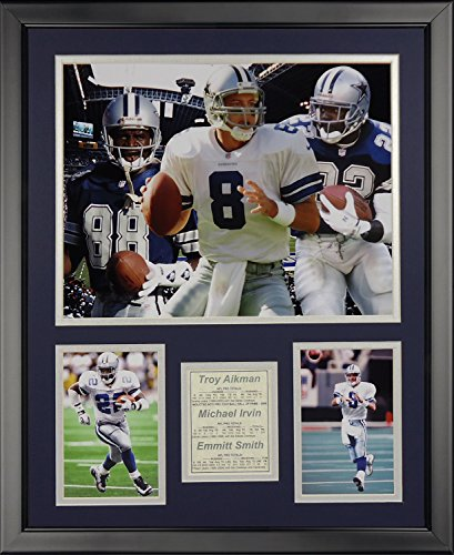 Legends Never Die Dallas Cowboys Aikman & Irvin & Smith Framed Photo Collage, 16