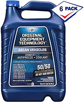 PEAK OE Extended Life Blue Coolant/Antifreeze, Asian Vehicles, 50/50, 1 Gal (6 Pack)