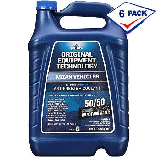 e Blue Coolant/Antifreeze, Asian Vehicles, 50/50, 1 Gal (6 Pack) ()