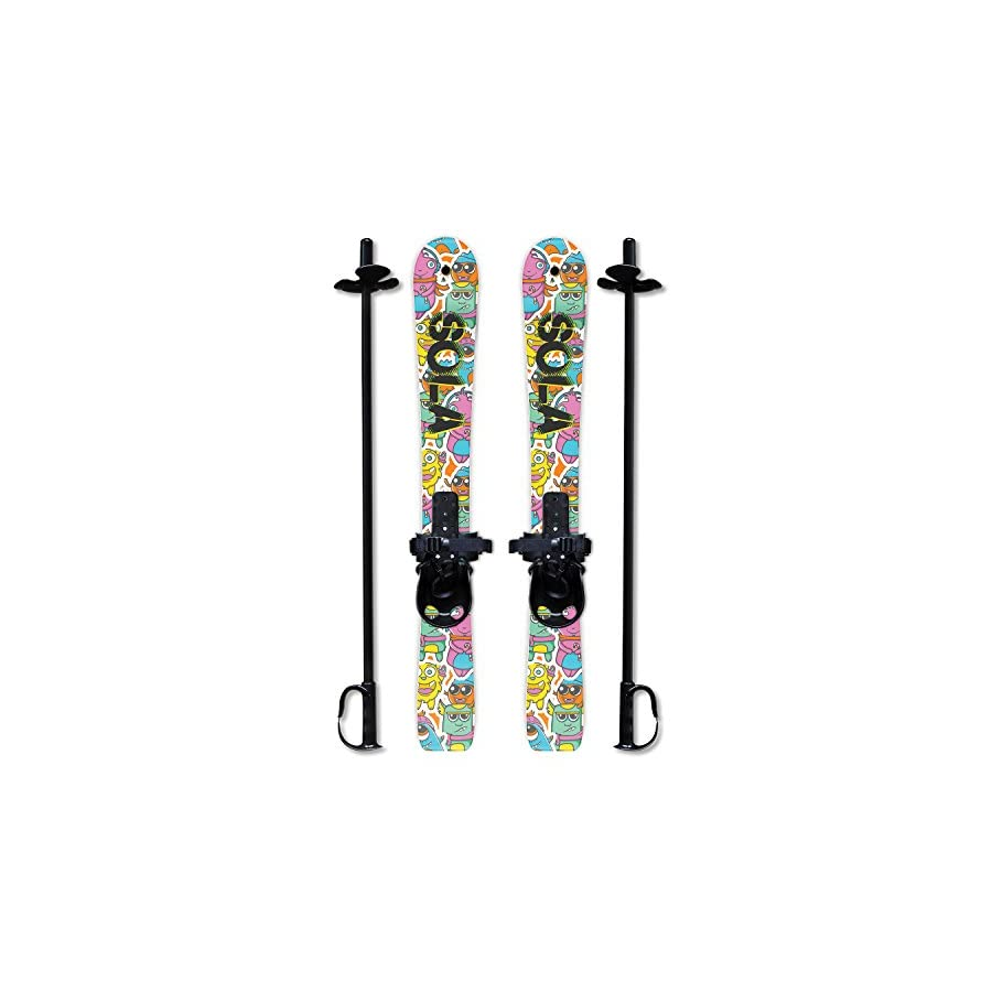 SOLA Winnter Sports Kid's Beginner Snow Skis and Poles With Bindings Age 2 4
