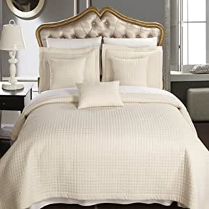 Queen size Ivory Coverlet 3pc set, Luxury Microfiber Checkered Quilted by Royal Hotel