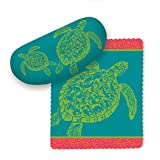 Cape Shore Grean Sea Turtles on Teal Blue Sunglasses Case with Microfiber Lens Cloth