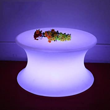 Ayanx Table Basse Salon avec Eclairage LED, Table Ronde ...