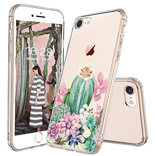 iPhone 8 Case, iPhone 7 Case, MOSNOVO Tropical Cactus Succulents Clear Design Transparent Printed Plastic Hard Back Case with TPU Bumper Protective Case Cover for Apple iPhone 7 (2016)/iPhone 8 (2017)
