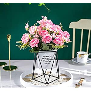 LEMON. Floral Silky Artificial Flower Sunflowers Metal Pot Bonsai Artificial Flowers in Metal Potted, Artificial Pink Peony Bouquet with Vase for Stage Garden Wedding Centerpieces Windowsill Decor 4