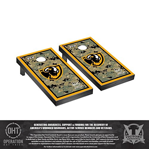 (Victory Tailgate Operation Hat Trick Virginia Commonwealth VCU Rams Desktop Cornhole Game Set Border Version)