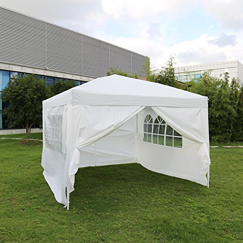 Kinbor 10'x10' Canopy Wedding Party Tent Heavy Duty Outdoor Gazebo White/Blue w/4 sides wall (White)