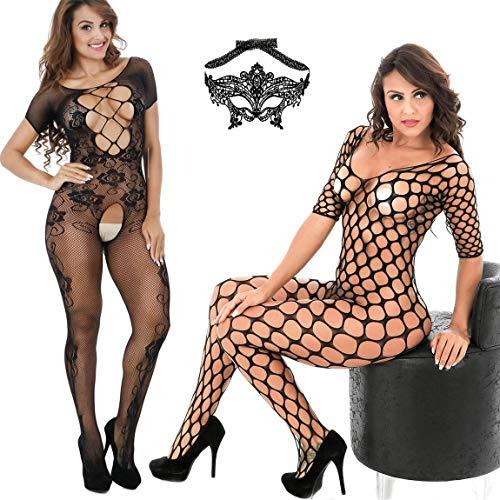 LOVELYBOBO 3-Pack Womens Fishnet Lingerie Bodystockings One Size Lingerie Bodysuits Lace Eye Mask Suspender Black -